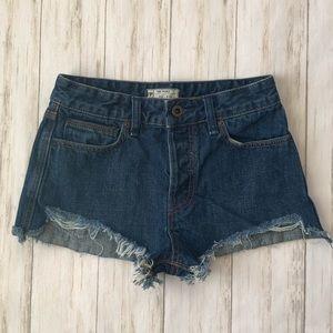 Free People High Cutoff Wedgie Denim Jean Shorts